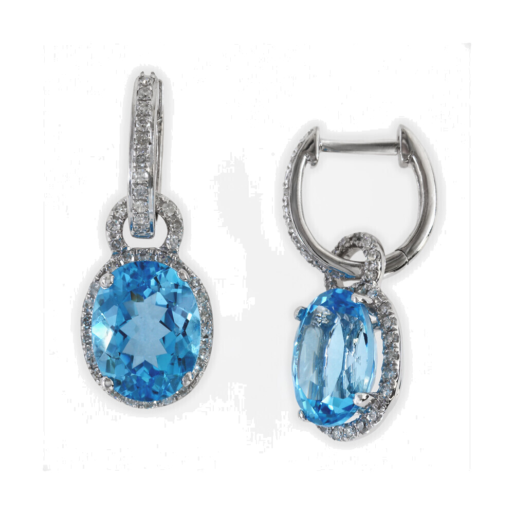 SWISS BLUE TOPAZ EARRINGS 14K GOLD WITH DIAMONDS