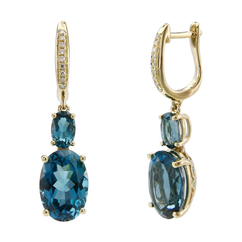 LONDON BLUE TOPAZ EARRINGS 14K GOLD WITH DIAMONDS