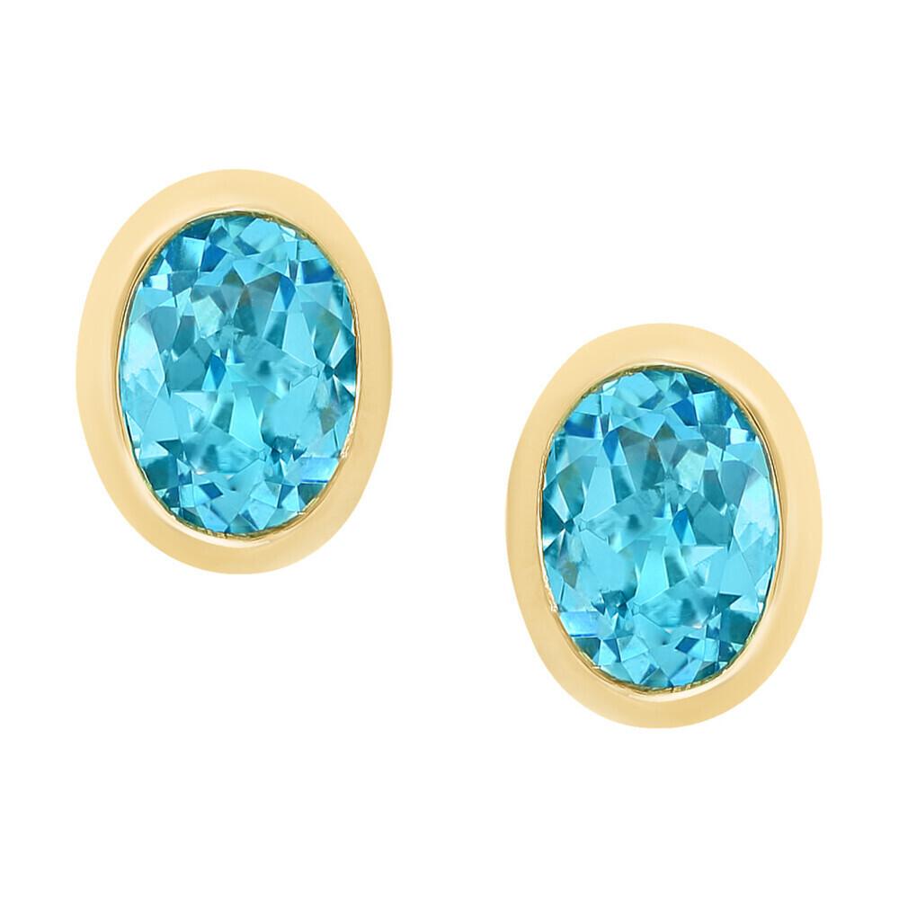 SWISS BLUE TOPAZ EARRINGS 14K GOLD