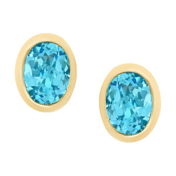 Closeup photo of SWISS BLUE TOPAZ EARRINGS 14K GOLD