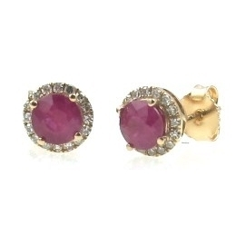 Closeup photo of RUBY EARRINGS 14K GOLD WITH DIAMONDS