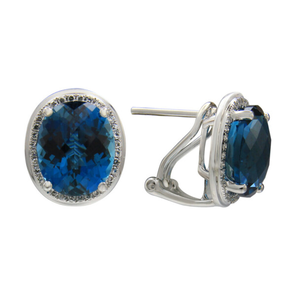 Closeup photo of LONDON BLUE TOPAZ EARRINGS 14K GOLD WITH DIAMONDS