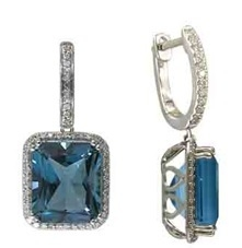 Closeup photo of SWISS BLUE TOPAZ EARRINGS 14K GOLD WITH DIAMONDS