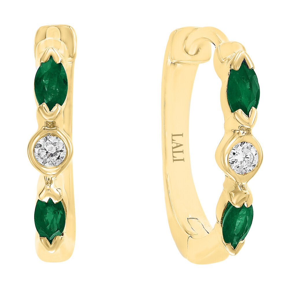 EMERALD EARRINGS 14K GOLD WITH DIAMONDS