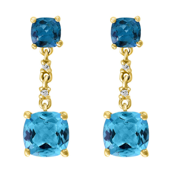 Closeup photo of LONDON BLUE AND SWISS BLUE TOPAZ EARRINGS 14K GOLD WITH DIAMONDS