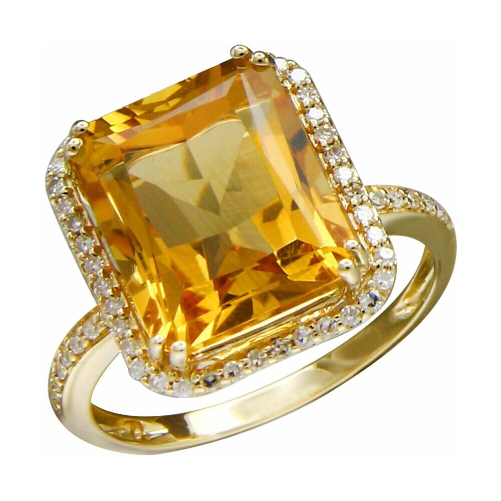 CITRINE RING 14K GOLD WITH DIAMONDS
