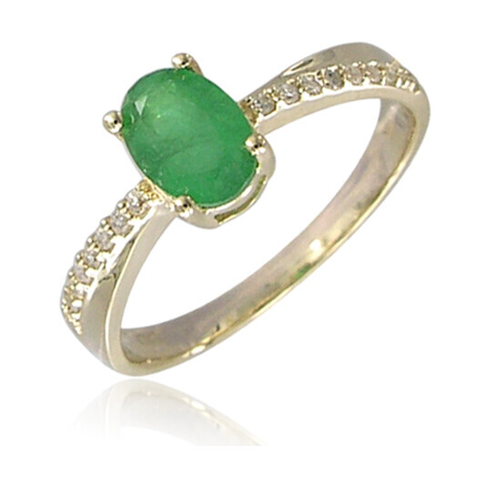 Closeup photo of EMERALD RING 14K GOLD WITH DIAMONDS