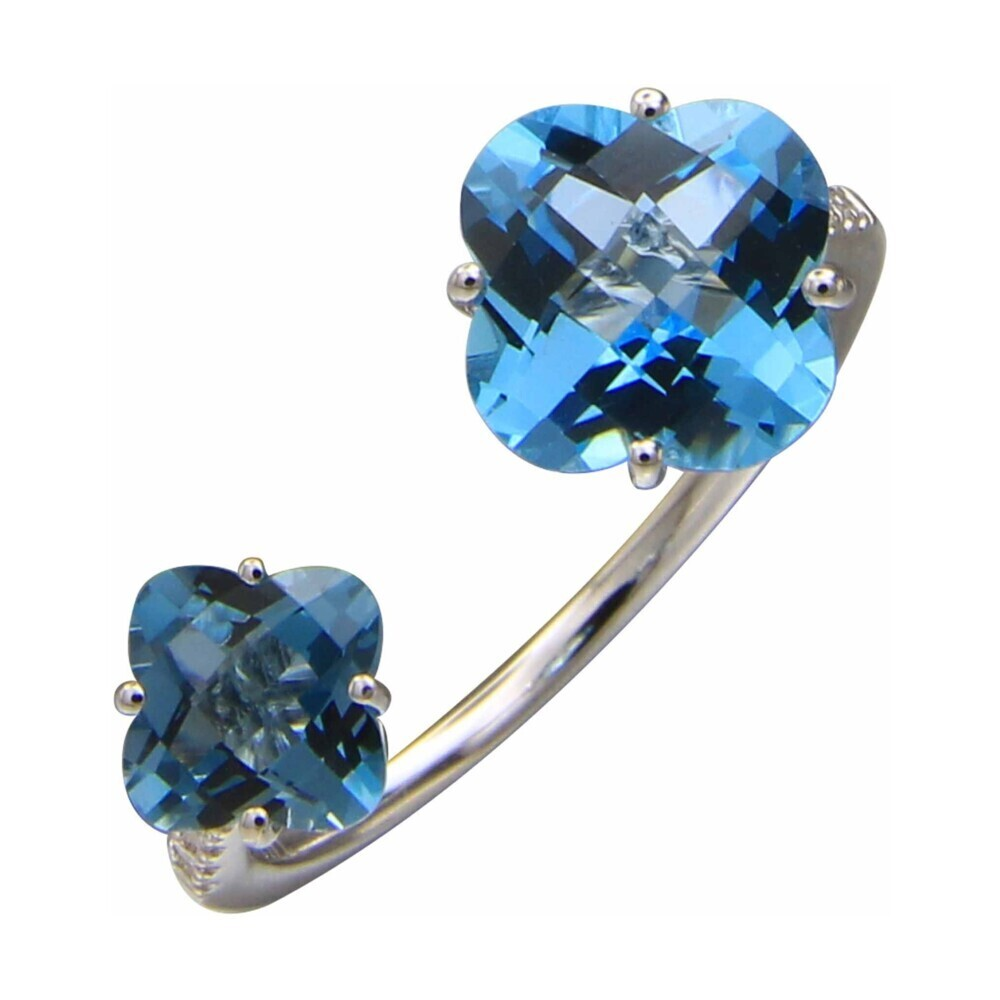 LONDON BLUE AND SWISS BLUE TOPAZ RING 14K GOLD WITH DIAMONDS