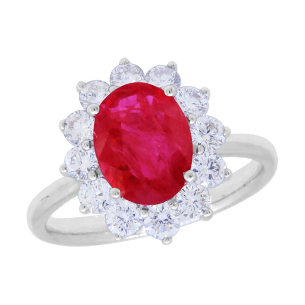Closeup photo of RUBY RING 14K GOLD WITH DIAMONDS