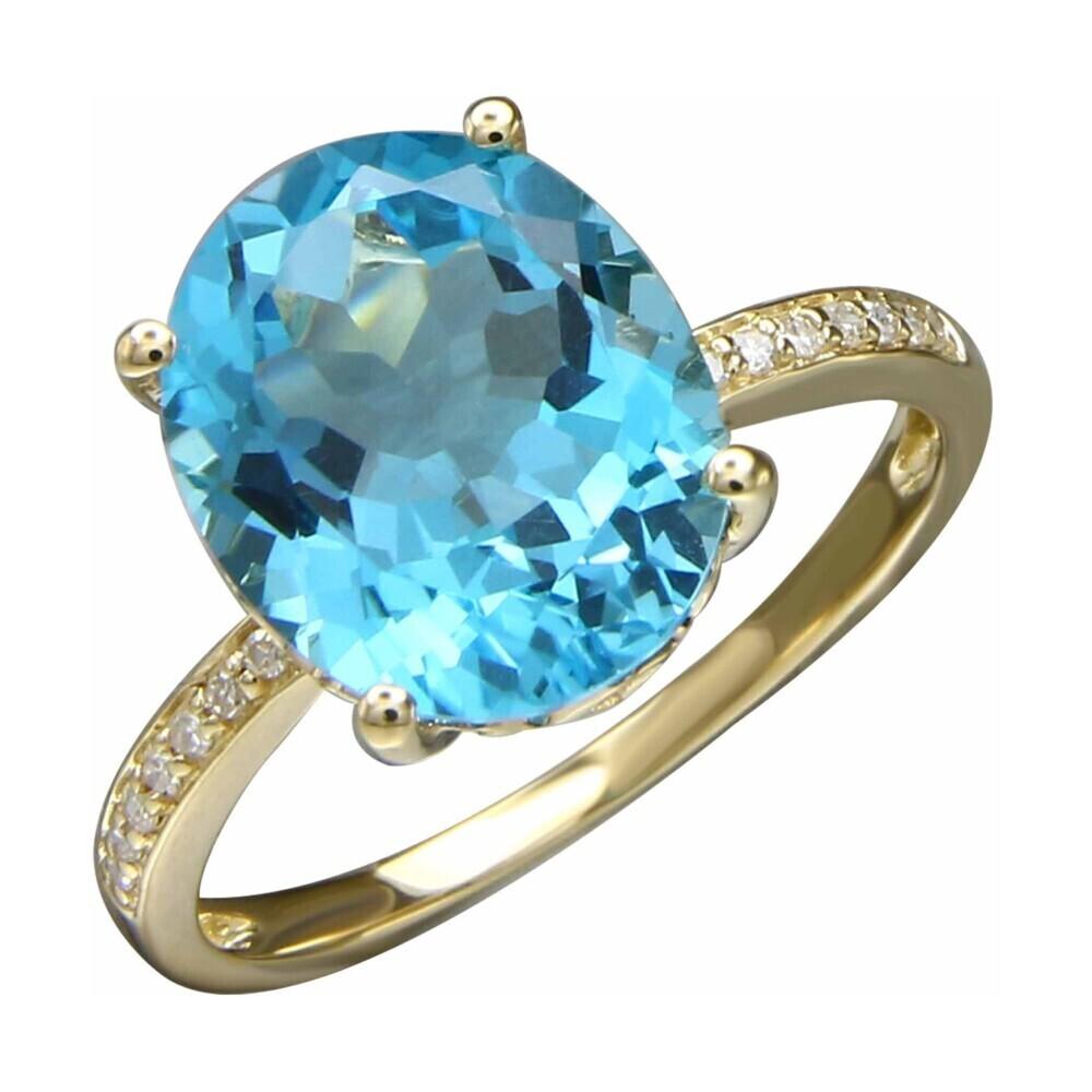 SWISS BLUE TOPAZ RING 14K GOLD WITH DIAMONDS