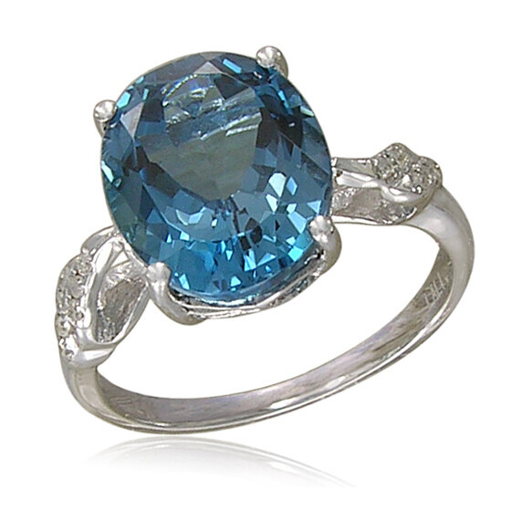 Closeup photo of LONDON BLUE TOPAZ RING 14K GOLD WITH DIAMONDS