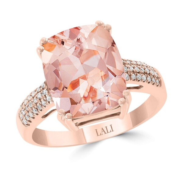Closeup photo of MORGANITE RING 14K GOLD WITH DIAMONDS