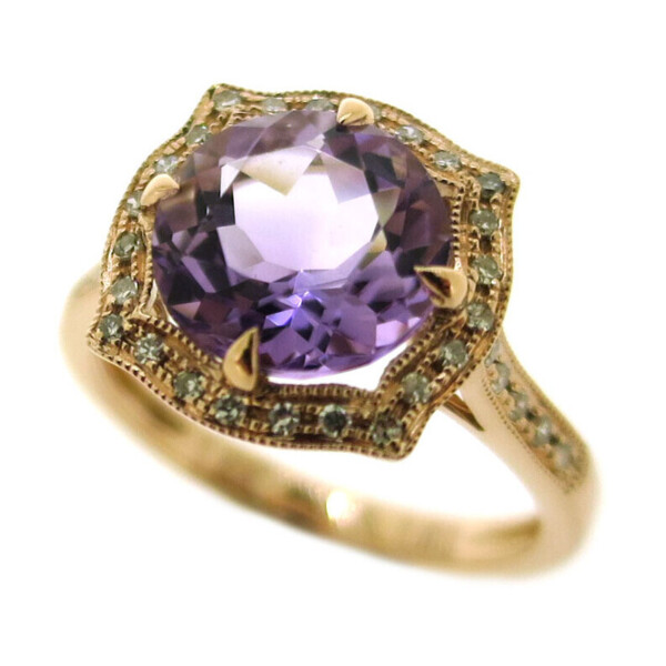 Closeup photo of PINK AMETHYST RING 14K GOLD WITH DIAMONDS