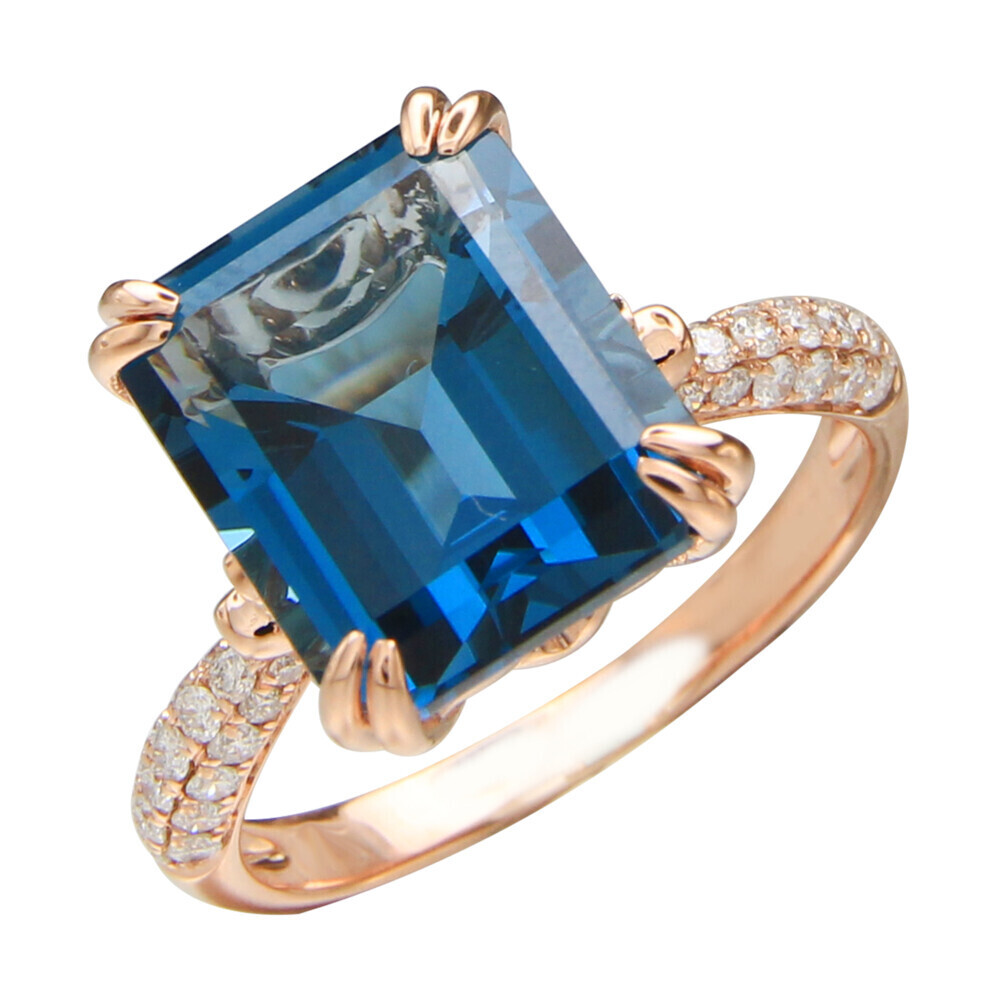 LONDON BLUE TOPAZ RING 14K GOLD WITH DIAMONDS