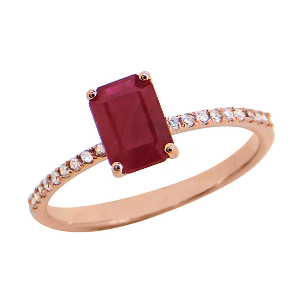 RUBY RING 14K GOLD WITH DIAMONDS