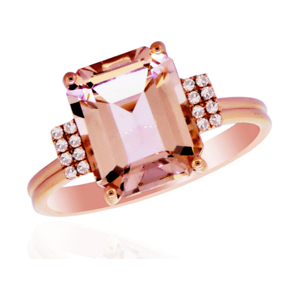 MORGANITE RING 14K GOLD WITH DIAMONDS