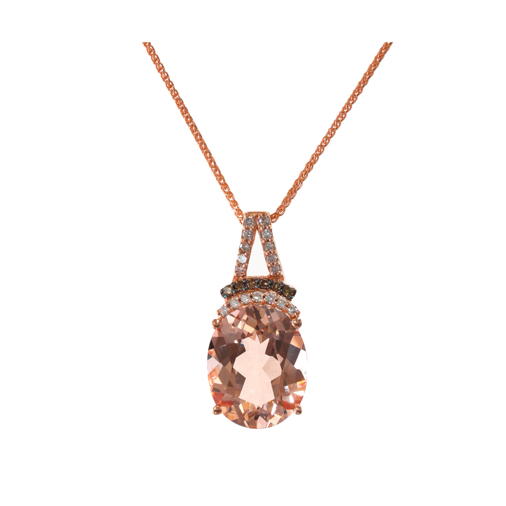 MORGANITE PENDANT AND CHAIN 14K GOLD WITH DIAMONDS