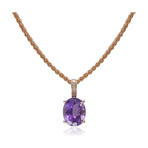Closeup photo of AMETHYST PENDANT AND CHAIN 14K GOLD WITH DIAMONDS