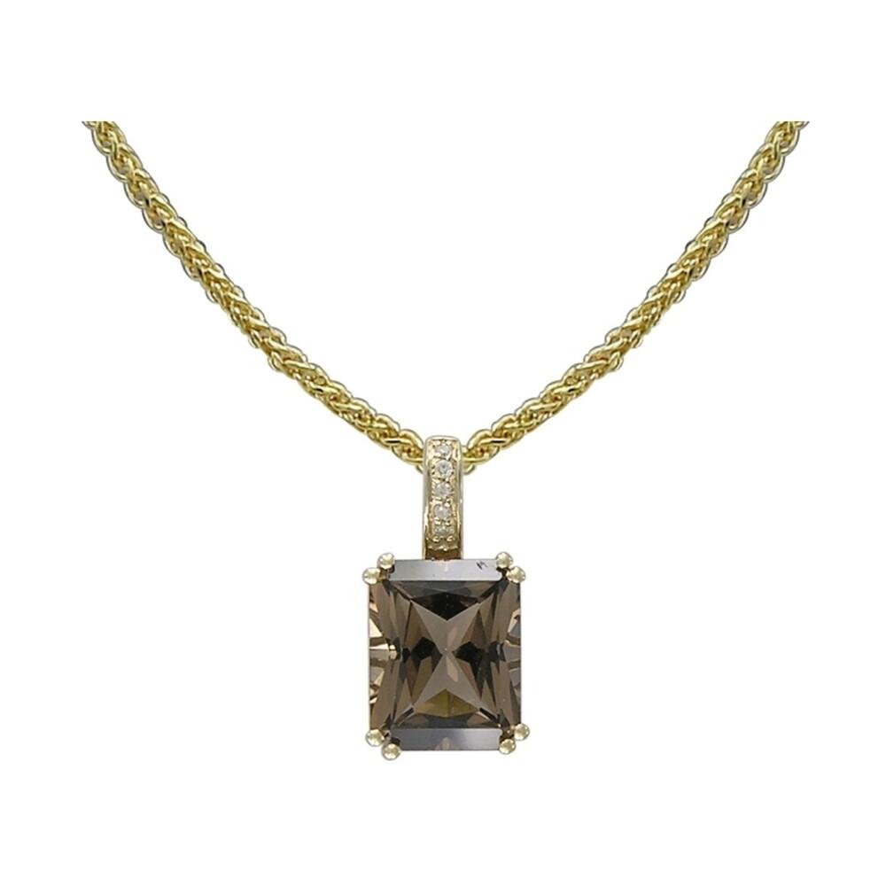 14k Yellow Gold Diamond and Smokey Quartz Pendant with Chain