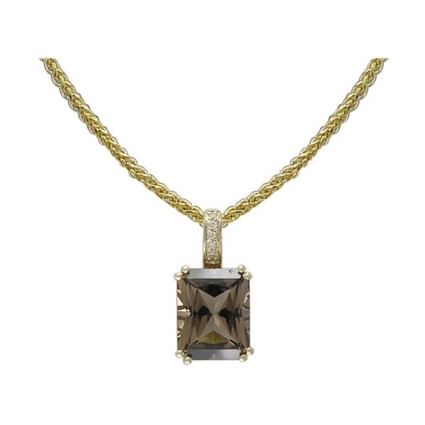 Closeup photo of 14k Yellow Gold Diamond and Smokey Quartz Pendant with Chain