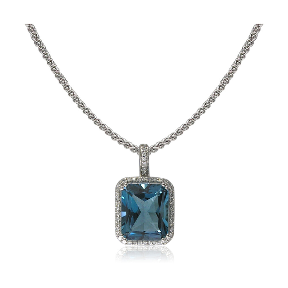 14k London Blue Topaz Pendant w/ Diamond Halo