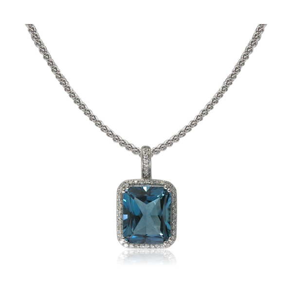 Closeup photo of 14k London Blue Topaz Pendant w/ Diamond Halo
