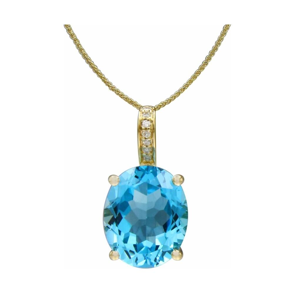 14k WG Swiss Blue Topaz Pendant w/ Diamond Bale