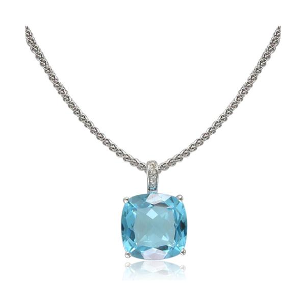 Closeup photo of 14k WG Swiss Blue Topaz Pendant w/ Diamond Bale