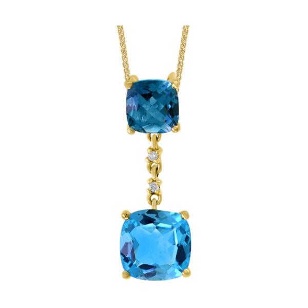 Closeup photo of 14k YG LB Topaz & SB Topaz Pendant w/ Diamonds