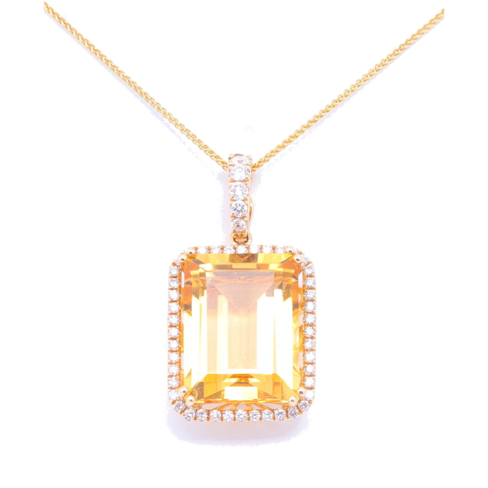 14k YG Citrine Pendant w/ Diamond Halo