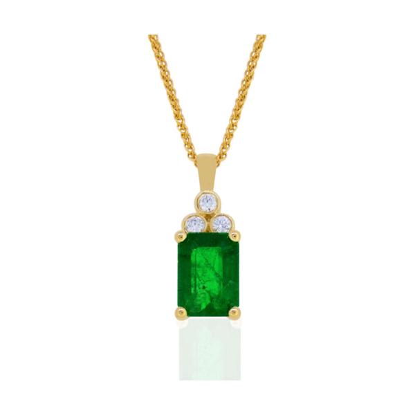 Closeup photo of 14k YG Emerald Pendant w/ DIamond Bale