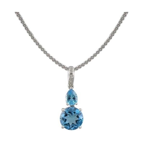 Closeup photo of 14k Swiss Blue Topaz Pendant w/ Diamond Bale