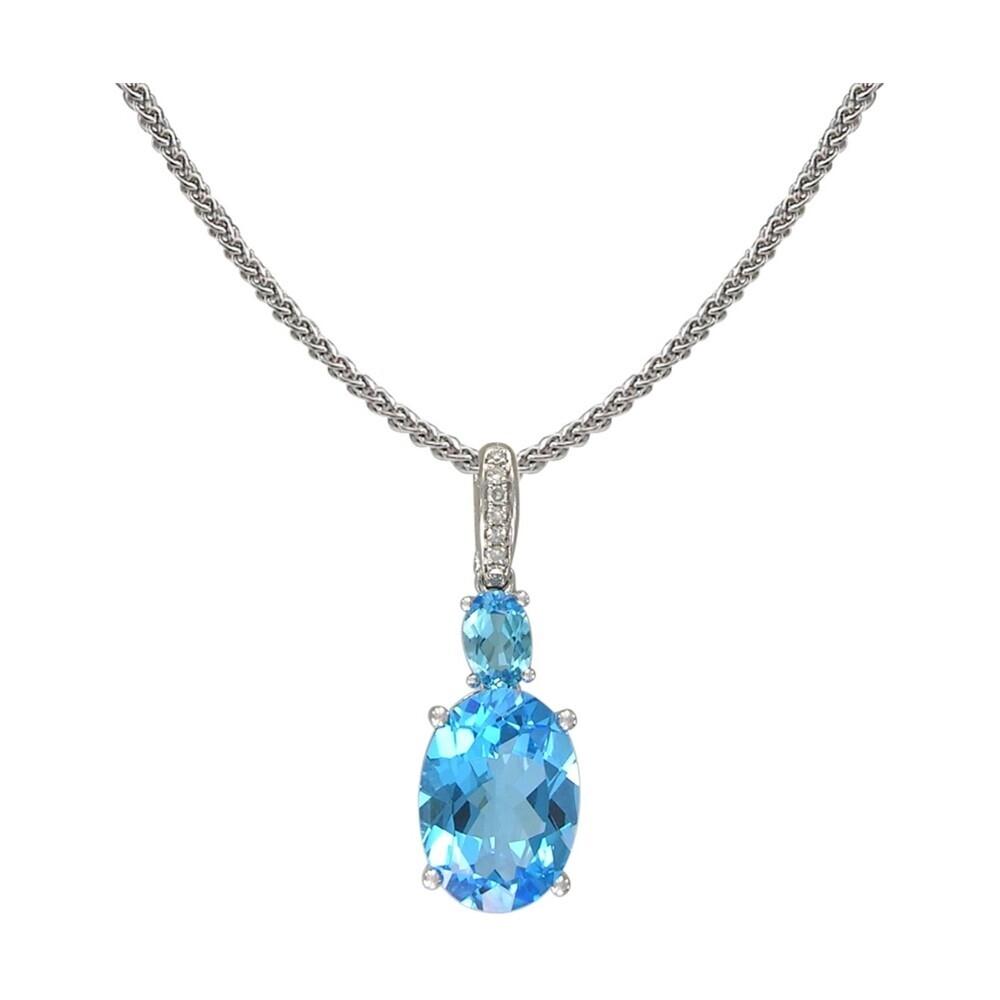 14k London Blue Topaz Pendant w/ Diamond Bale