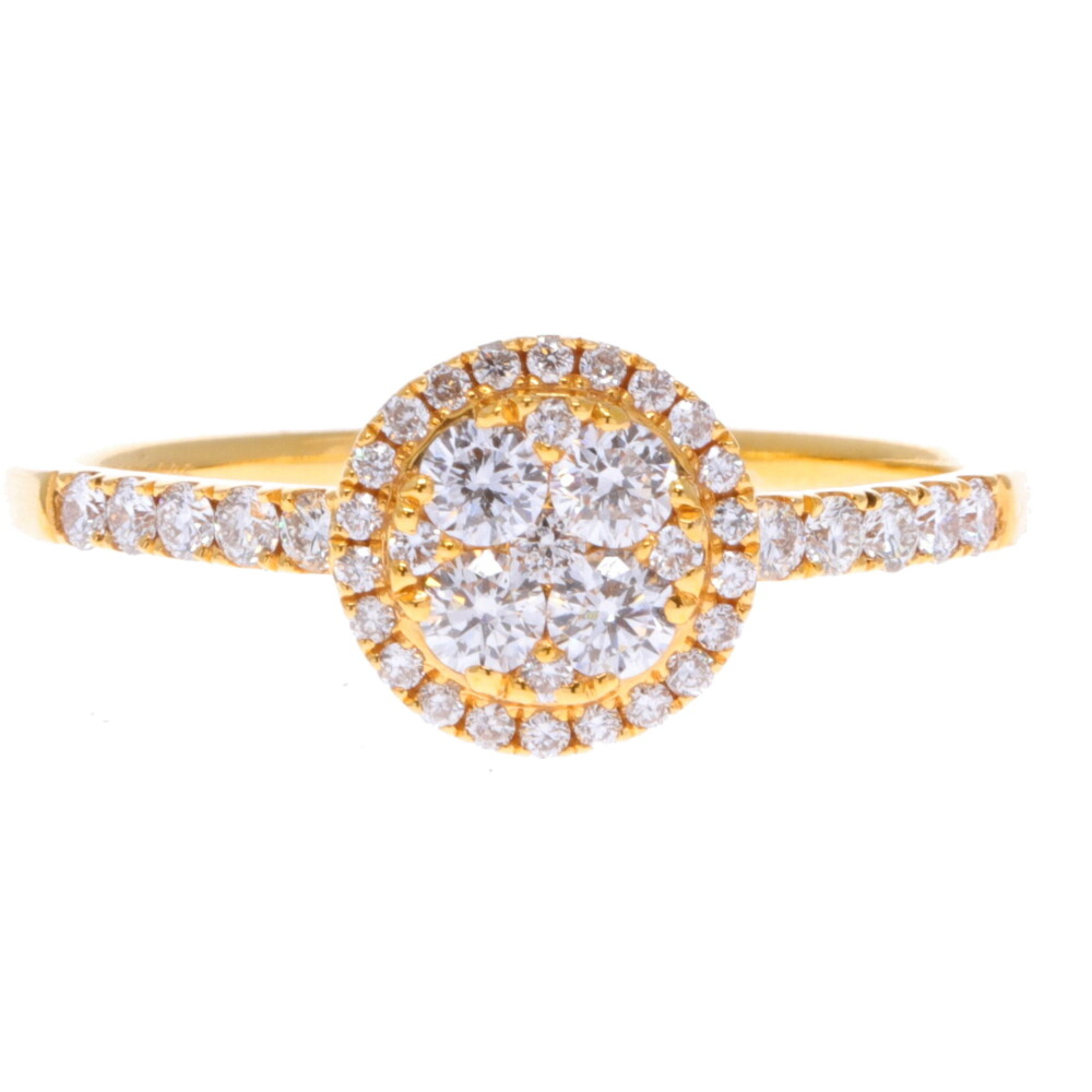 14k Small Round Diamond Cluster Ring