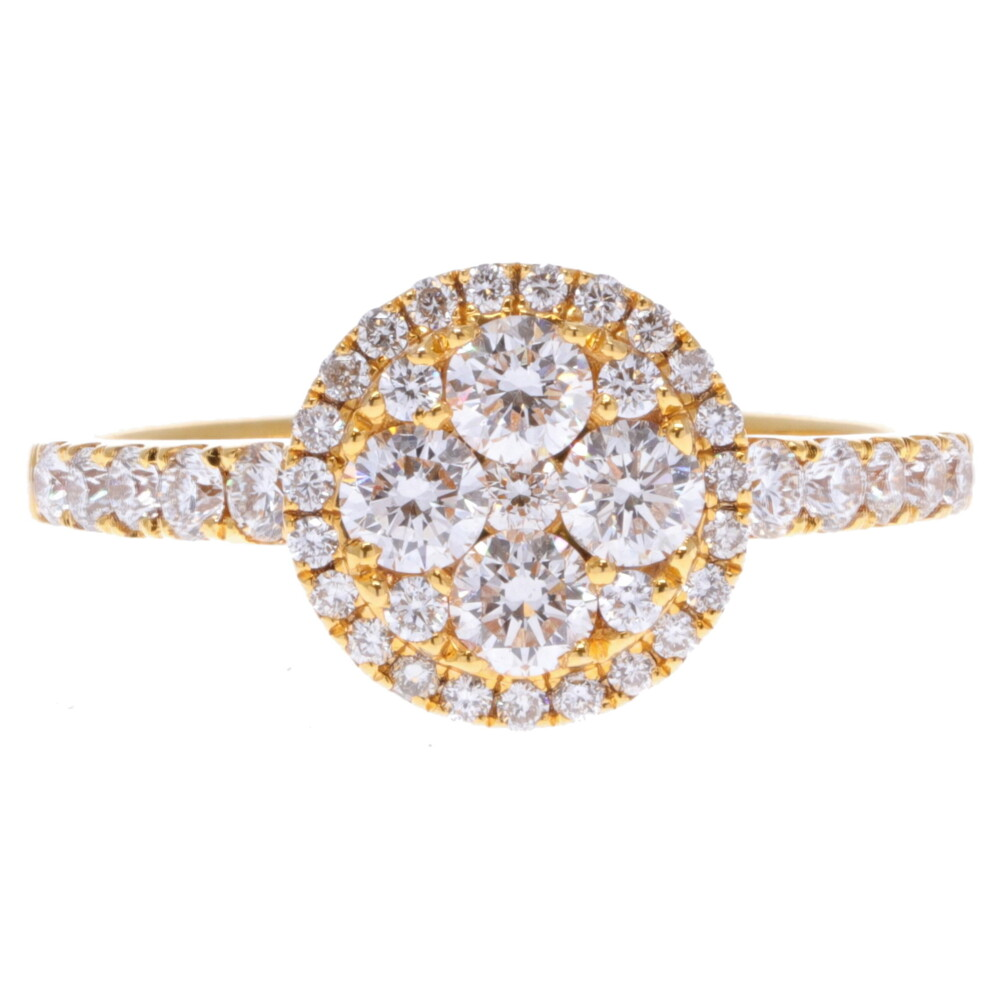 14k Round Diamond Cluster Ring