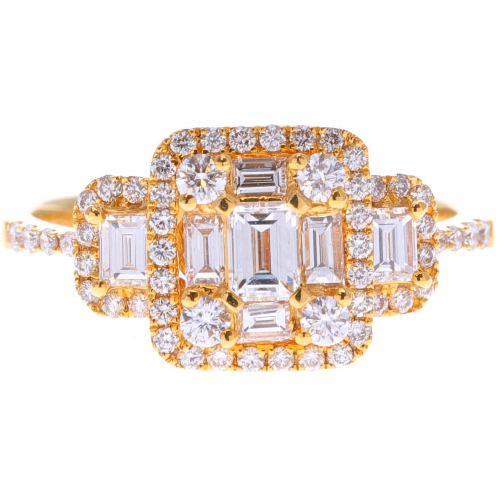 14k Emerald Cut Diamond Cluster Ring