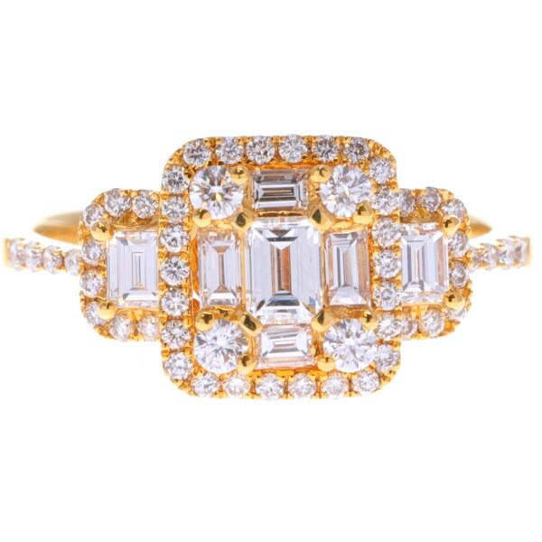 Closeup photo of 14k Emerald Cut Diamond Cluster Ring
