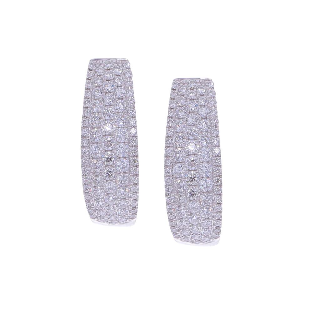 Pave Diamond Cluster Huggie Earrings