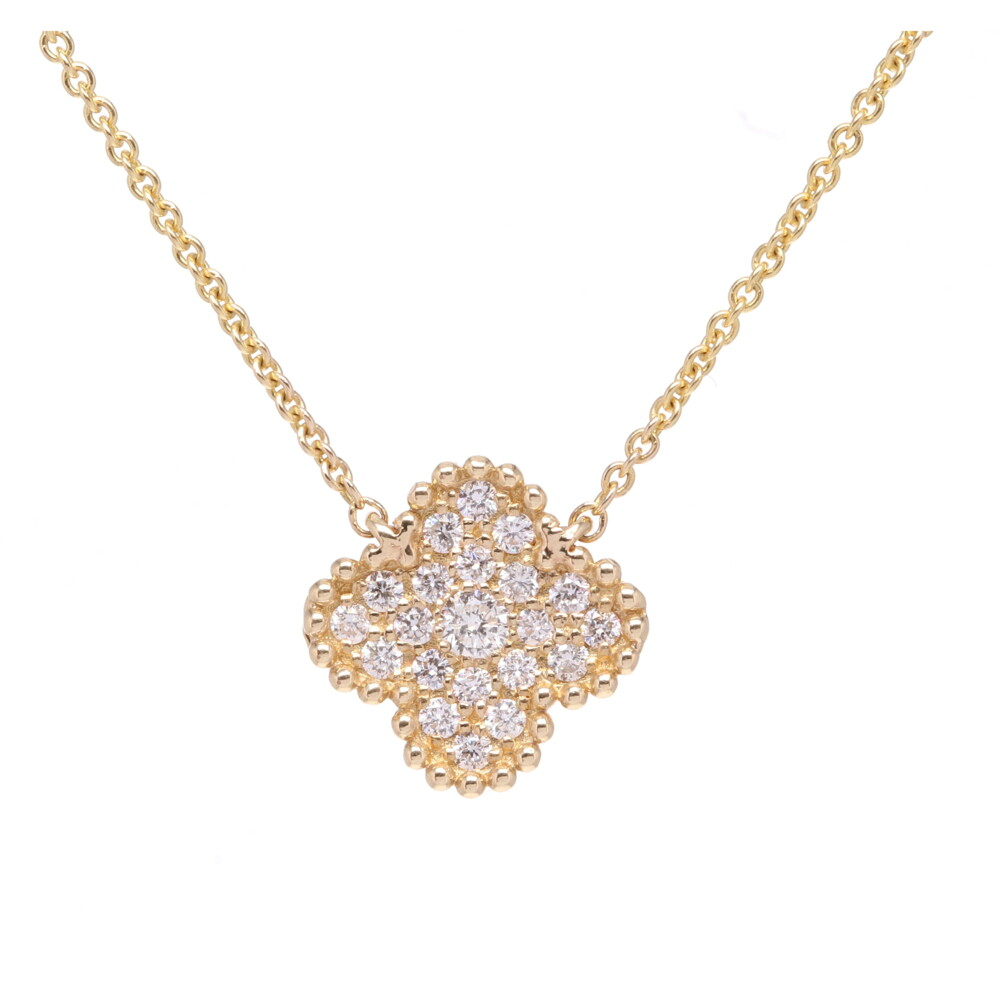 """Diamond Flower 18"""" Mixed Link Chain Necklace"""