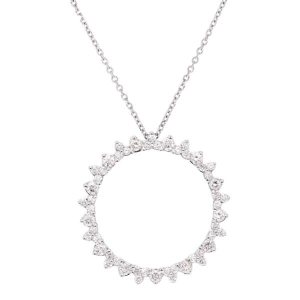 Closeup photo of Rd Prg All Diamond Circle Necklace
