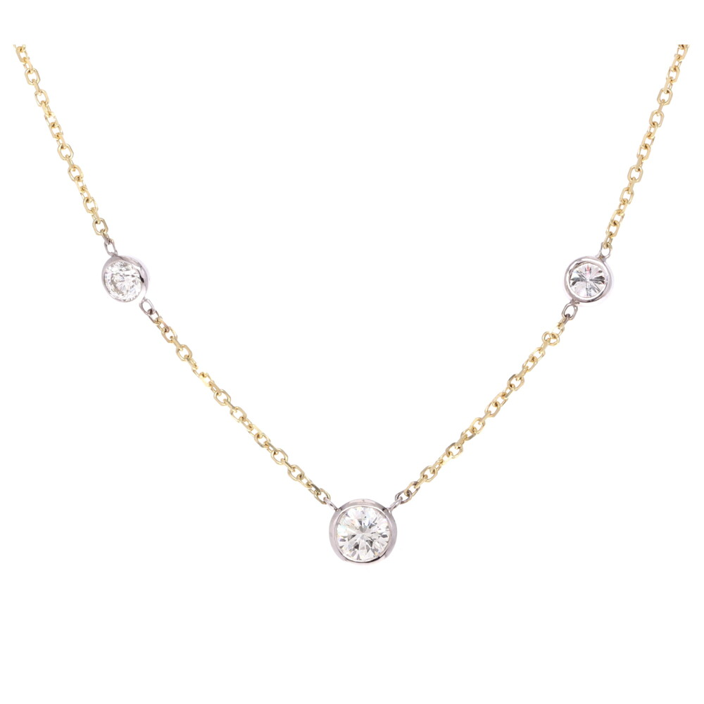 "18"" Diamond By The Yard 3 Stone Bezel Necklace"