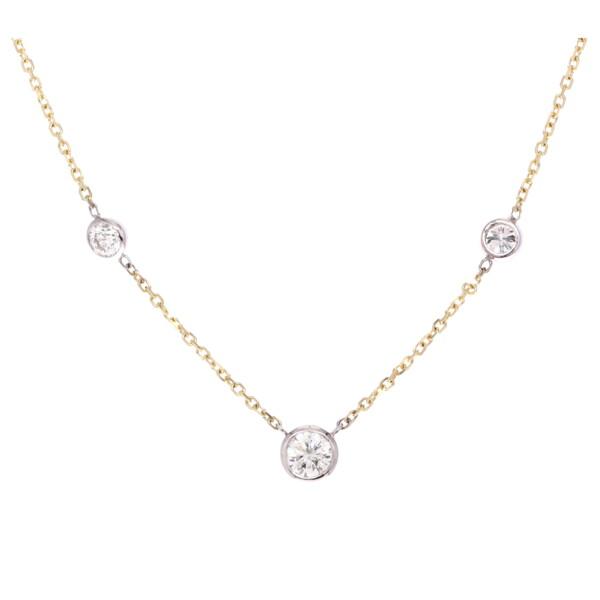 "Closeup photo of 18"" Diamond By The Yard 3 Stone Bezel Necklace"