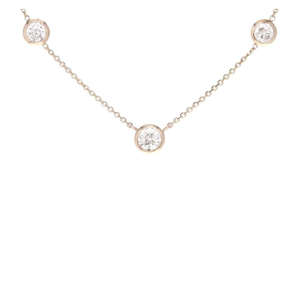"16"" Diamond By The Yard 3 Stone Bezel Necklace"