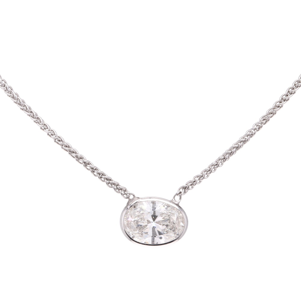 "18"" Diamonds By The Yard Necklace w/ Oval Center"