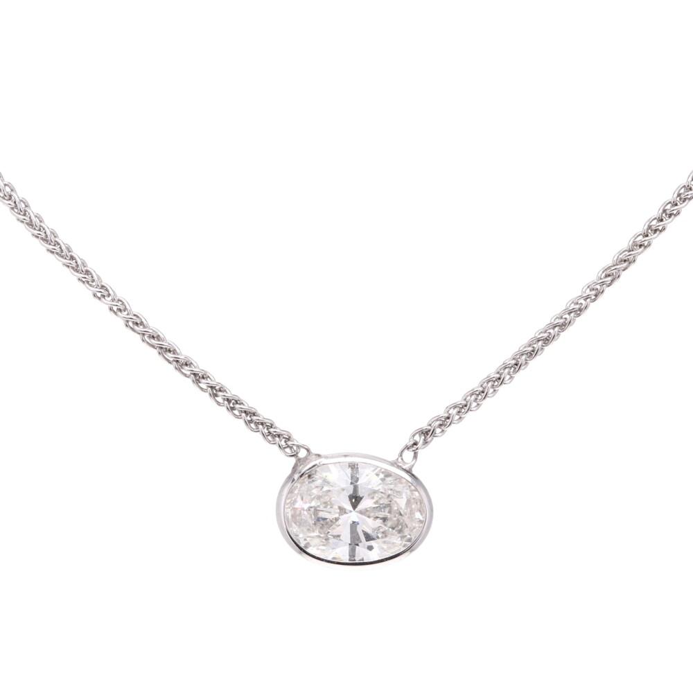 "18"" Diamonds By The Yard Necklace w/ Oval Center"