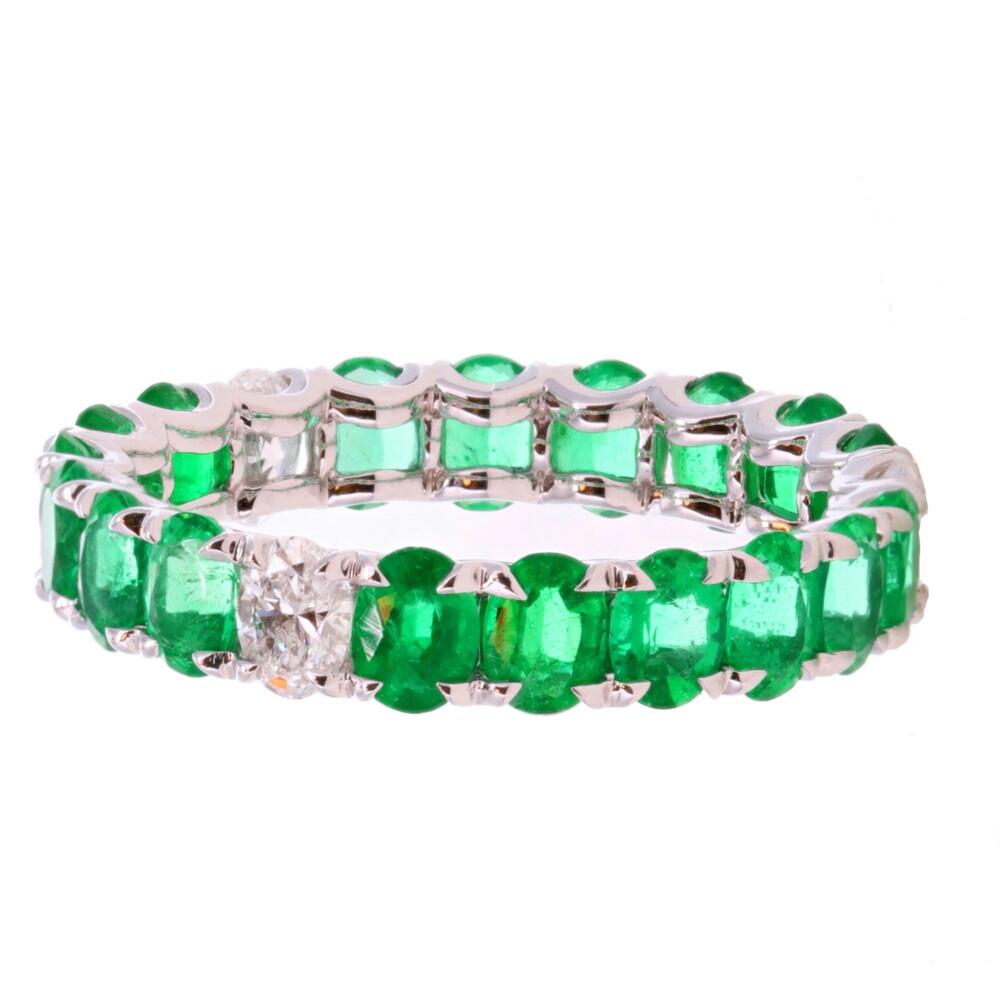 3 Diamond Emerald Eternity Band