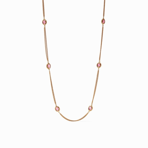 Closeup photo of Calypso Station Necklace with Iridescent Rouge Red gemstone