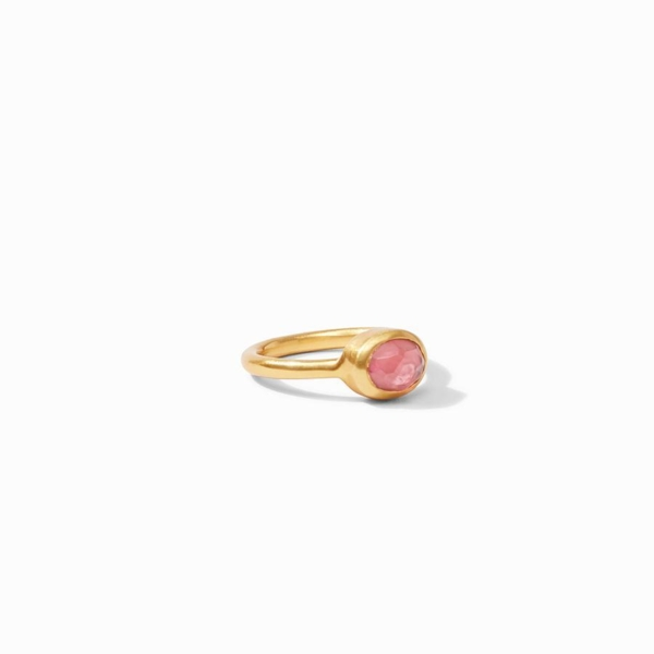 Closeup photo of Jewel Stack Ring with Iridescent Rouge Red gemstone