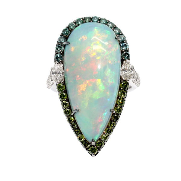 Closeup photo of Teardrop Opal Ring 18k Gold with Diamonds