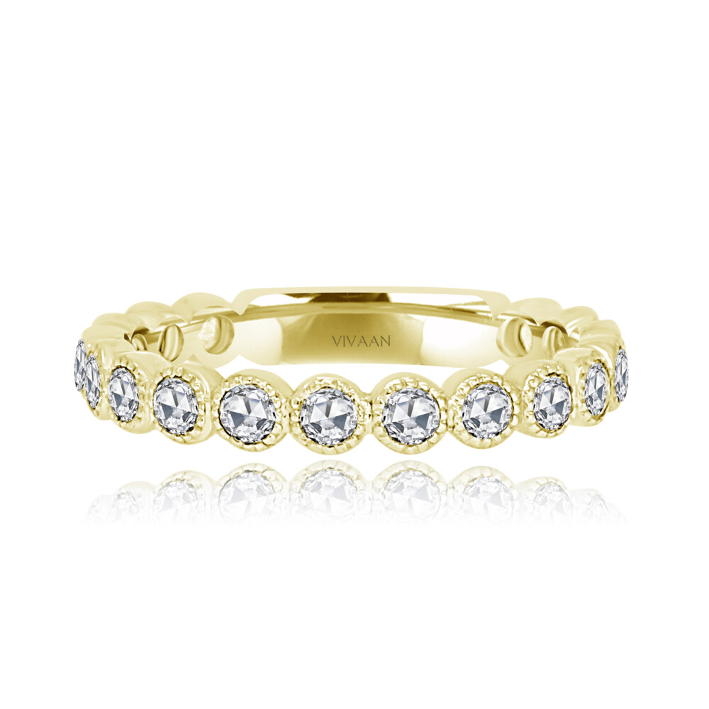 18k Bezel Set Rose Cut Diamond Stack Band